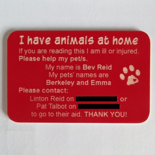 Pet Emergency Card